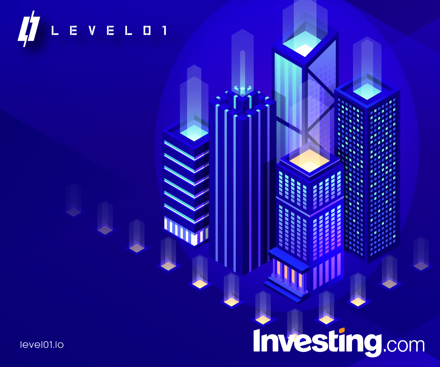 City skyline for DeFi and investing.com with Level01