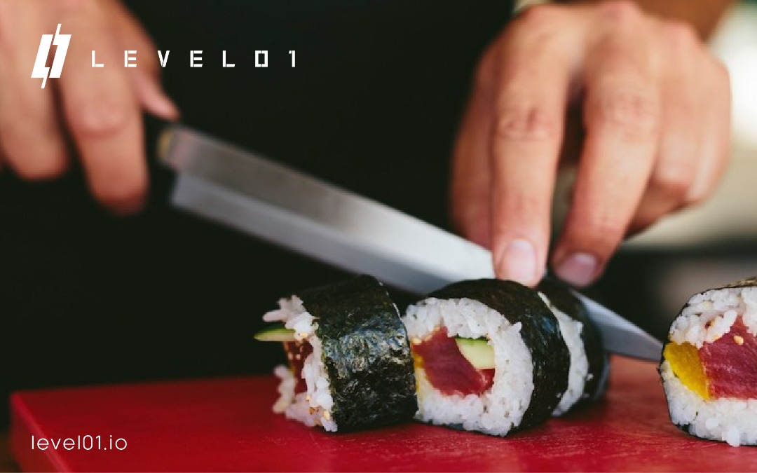 sushi being cut for level01 defi platform